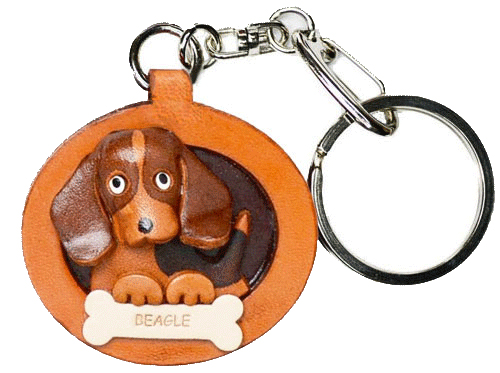 BEAGLE LEATHER DOG PLATE KEYCHAIN