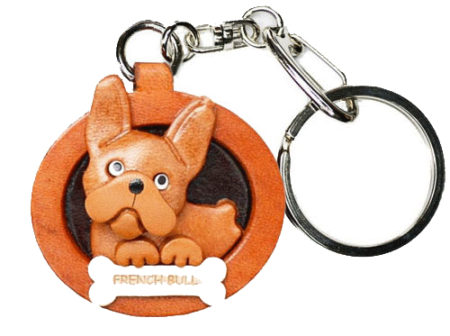 FRENCH BULLDOG LEATHER DOG PLATE KEYCHAIN