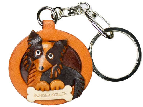 BORDER COLLIE LEATHER DOG PLATE KEYCHAIN