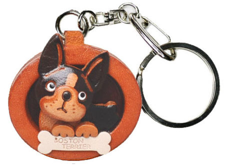 BOSTON TERRIER LEATHER DOG PLATE KEYCHAIN