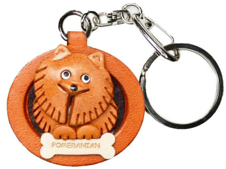 POMERANIAN LEATHER DOG PLATE KEYCHAIN