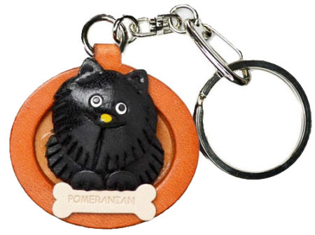 POMERANIAN BLACK LEATHER DOG PLATE KEYCHAIN