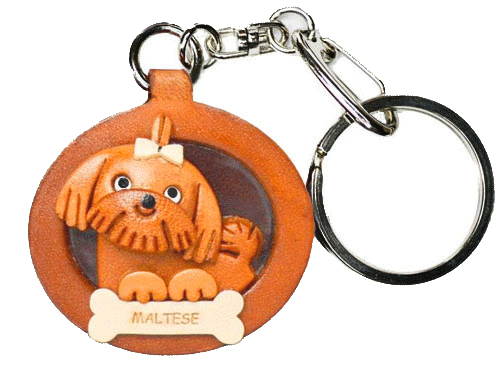 MALTESE LEATHER DOG PLATE KEYCHAIN