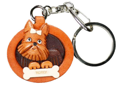 YORKSHIRE TERRIER LEATHER DOG PLATE KEYCHAIN
