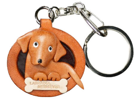 LABRADOR RETRIEVER LEATHER DOG PLATE KEYCHAIN