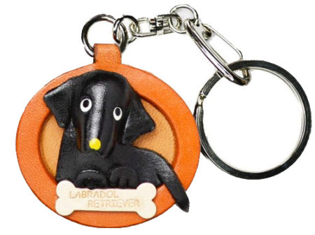 LABRADOR RETRIEVER BLACK LEATHER DOG PLATE KEYCHAIN