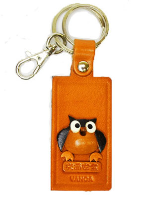 OWL LEATHER NAME PLATE HOLDER KEYCHAIN