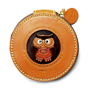 OWL HANDMADE GENUINE LEATHER ANIMAL ROUND COIN CASE