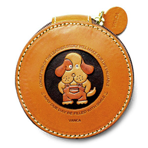 DOG HANDMADE GENUINE LEATHER ANIMAL ROUND COIN CASE