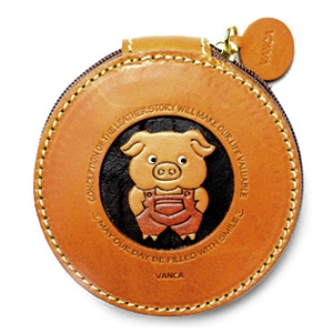 PIG HANDMADE GENUINE LEATHER ANIMAL ROUND COIN CASE