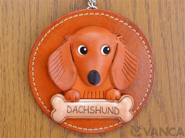 DACHSHUND LONG HAIR LEATHER WALL DECO