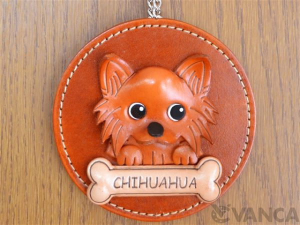CHIHUAHUA LONG HAIRD LEATHER WALL DECO