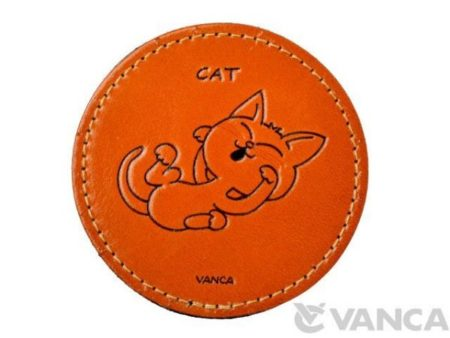 LEATHER COASTER CAT