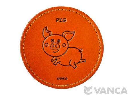 LEATHER COASTER PIG