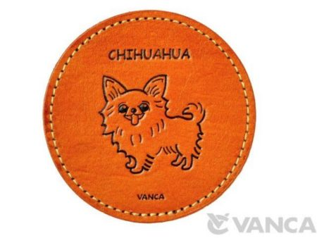 LEATHER COASTER CHIHUAHUA LONG HAIRD