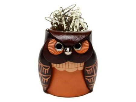 LEATHER DESK CLIP HOLDER OWL