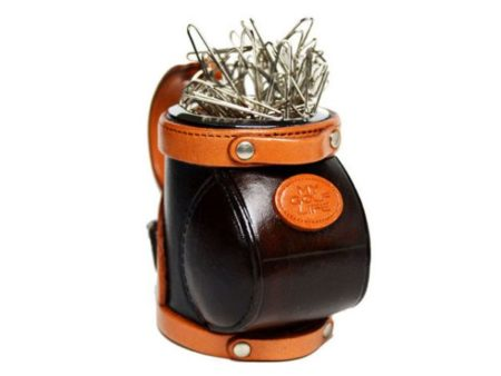 LEATHER DESK CLIP HOLDER GOLFBAG
