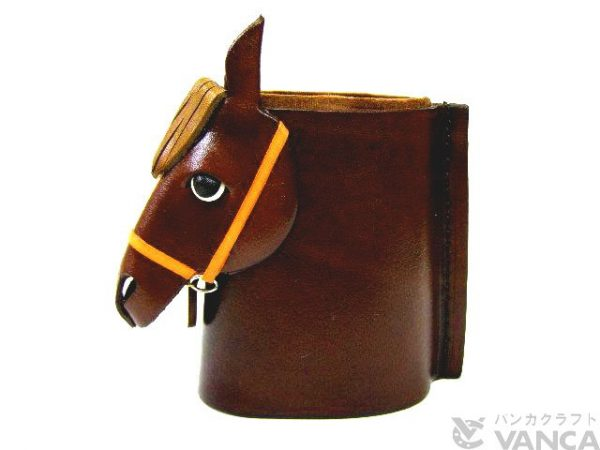 HORSE HEAD BLACK BROWN HANDMADE LEATHER EYEGLASSES HOLDER/STAND
