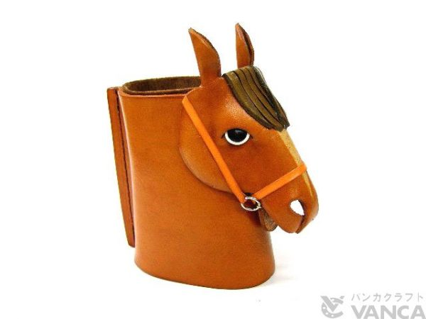 HORSE HEAD CAMEL BROWN HANDMADE LEATHER EYEGLASSES HOLDER/STAND