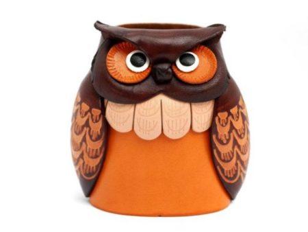 OWL HANDMADE GENUINE LEATHER EYEGLASSES HOLDER/STAND