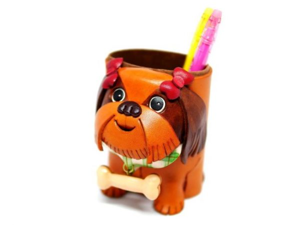 SHIH TZU HANDMADE LEATHER EYEGLASSES HOLDER/STAND