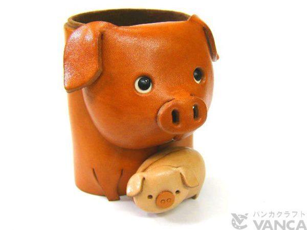 PIG HANDMADE LEATHER ANIMAL EYEGLASSES HOLDER/STAND