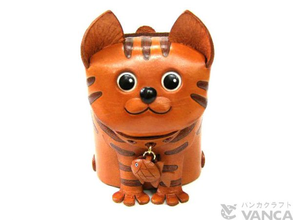 TABBY CAT HANDMADE LEATHER EYEGLASSES HOLDER/STAND