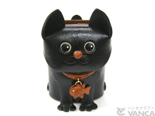 BLACK CAT HANDMADE LEATHER EYEGLASSES HOLDER/STAND