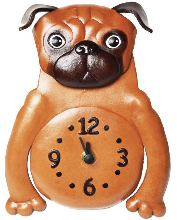 PUG JAPANESE LEATHER WALL CLOCK
