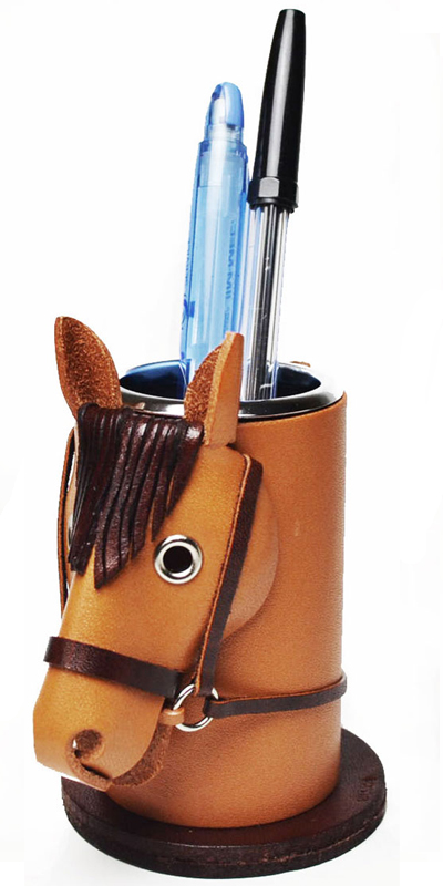 HORSE LEATHER PEN STAND