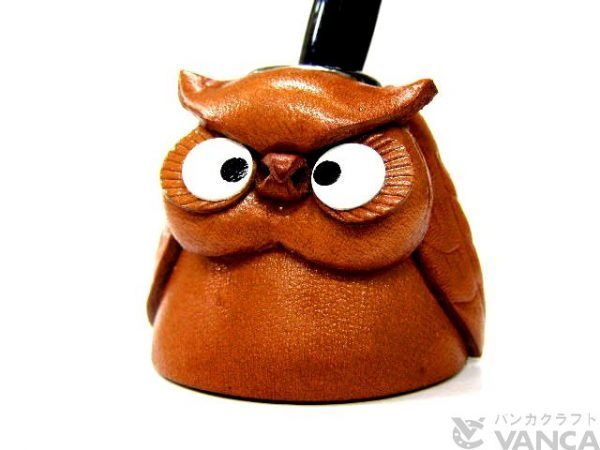OWL LEATHER DESK PEN STAND