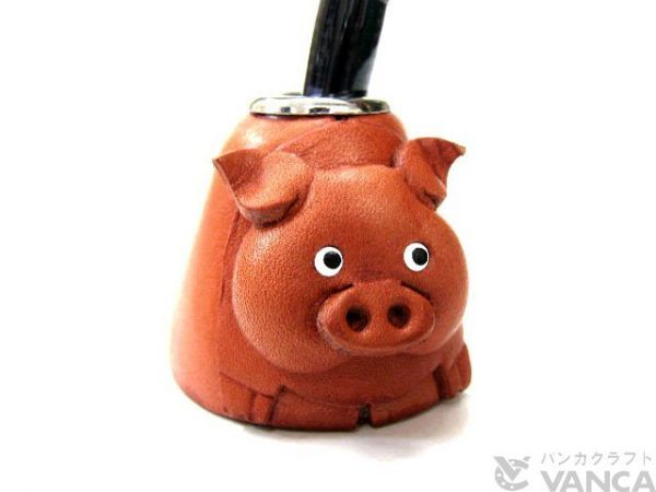 PIG LEATHER DESK PEN STAND