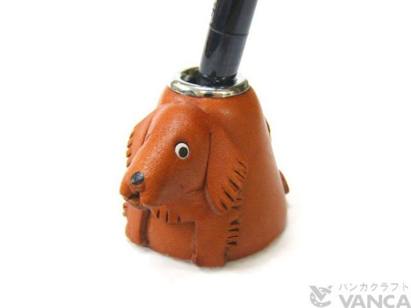 GOLDEN RETRIEVER LEATHER DESK PEN STAND