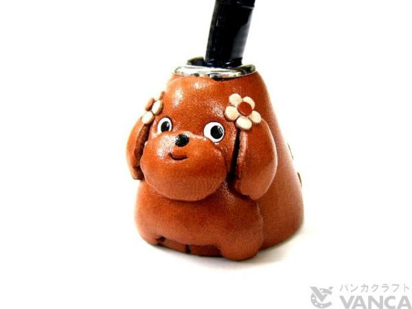 TOY POODLE LEATHER DESK PEN STAND