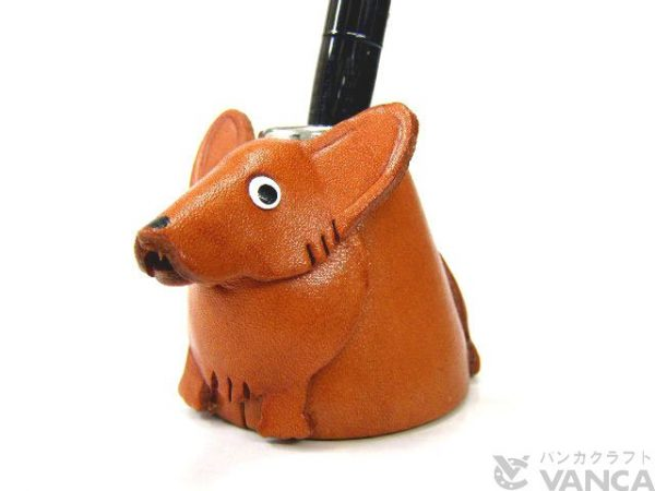 WELSH CORGI LEATHER DESK PEN STAND