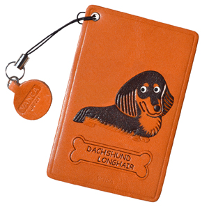 DACHSHUND LONG BLACK&TAN LEATHER COMMUTER PASS/PASSCARD HOLDERS