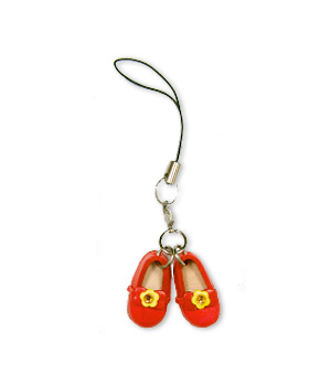 RED SHOES WITH RIBBON LEATHER CELLULAR PHONE CHARM