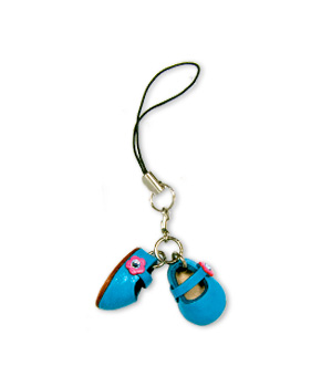 FIRST SHOES BLUE LEATHER CELLULAR PHONE CHARM