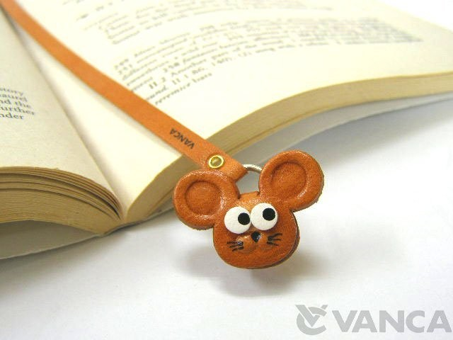 MOUSE HANDMADE LEATHER ANIMAL BOOKMARK/BOOKMARKER