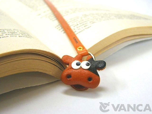 COW HANDMADE LEATHER ANIMAL BOOKMARK/BOOKMARKER