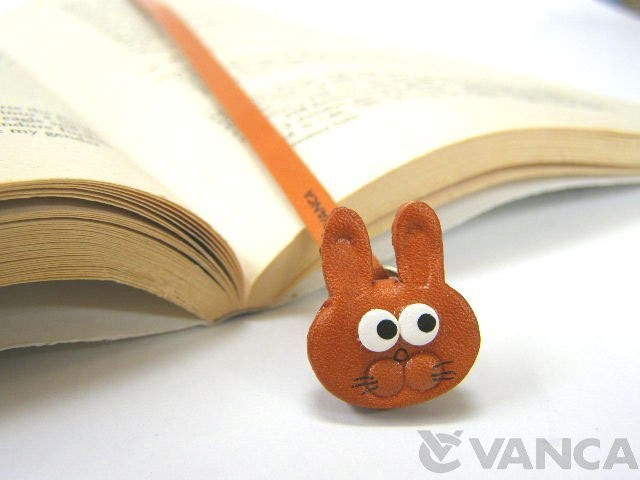 RABBIT HANDMADE LEATHER ANIMAL BOOKMARK/BOOKMARKER