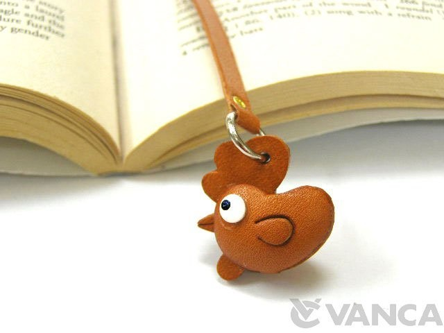 ROOSTER HANDMADE LEATHER ANIMAL BOOKMARK/BOOKMARKER