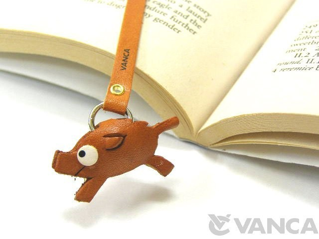 WILD BOAR HANDMADE LEATHER BOOKMARK/BOOKMARKER