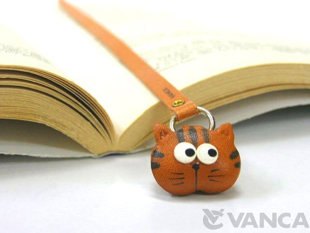 CAT HANDMADE LEATHER ANIMAL BOOKMARK/BOOKMARKER