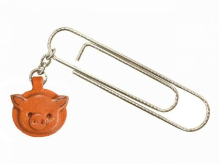 PIG ANIMAL LEATHER CHARM/PAPER CLIP
