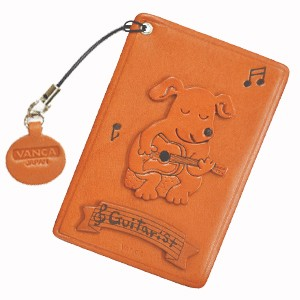 DOG WITH GUITAR LEATHER COMMUTER PASS CASE/CARD HOLDERS