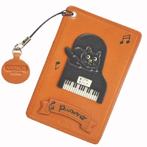 CAT ON THE PIANO LEATHER COMMUTER PASS CASE/CARD HOLDERS