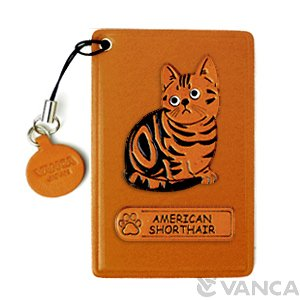 AMERICAN SHORTHAIR LEATHER COMMUTER PASS CASE/CARD HOLDERS