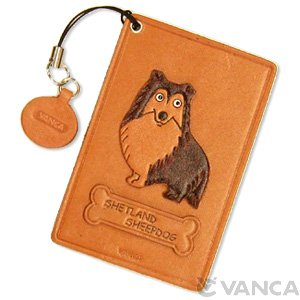 SHETLAND SHEEP DOG LEATHER COMMUTER PASS/PASSCARD HOLDERS