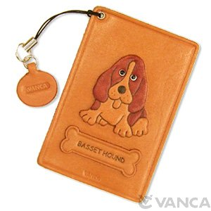 BASSET HOUND LEATHER COMMUTER PASS CASE/CARD HOLDERS